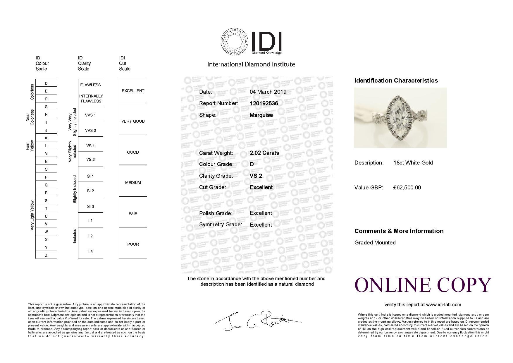 18k White Gold Single Stone With Halo Setting Ring 2.02 - Image 3 of 3