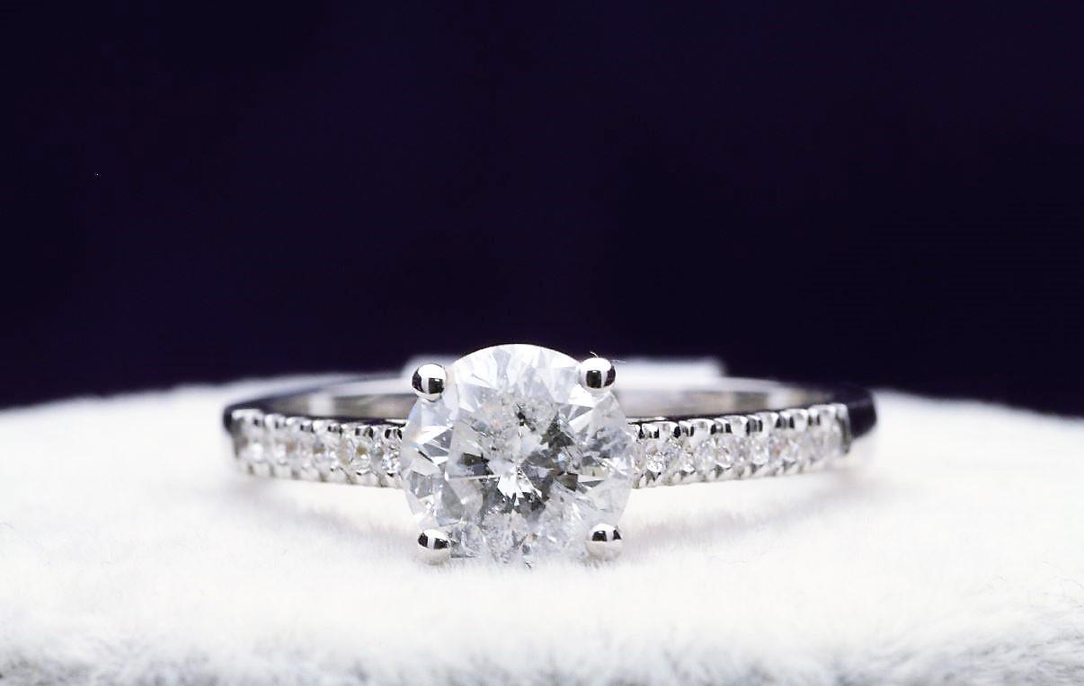 18k White Gold Single Stone Prong Set With Stone Set Shoulders Diamond Ring 1.40