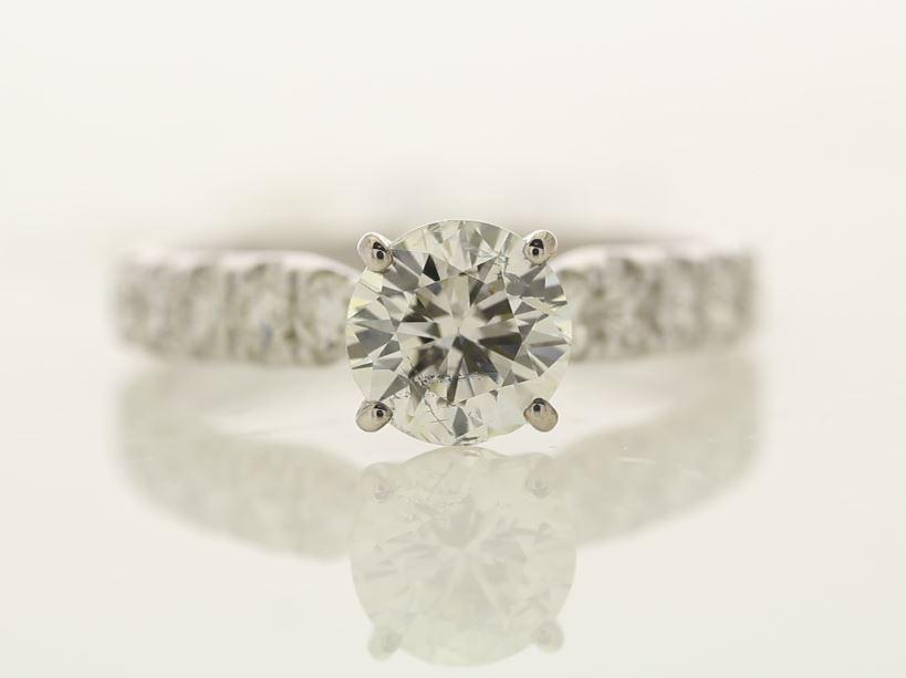 Lot 23 - 18k White Gold Single Stone Prong Set With Stone Set Shoulders Diamond Ring 1.67