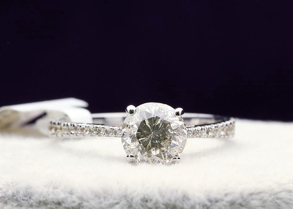 18k White Gold Single Stone Prong Set With Stone Set Shoulders Diamond Ring 1.37