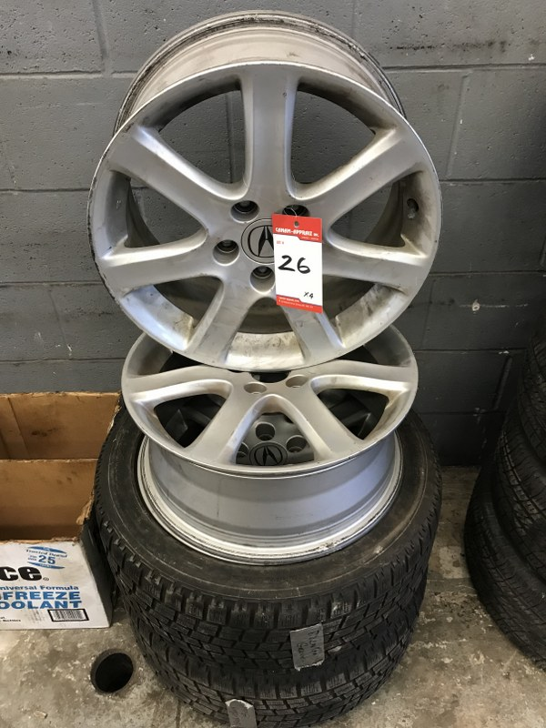 "Lot 26 - 17 "" ACURA TSX 5 BOLT 7 STAR RIMS x 4 W/ 2 x BLIZZAK WINTER TIRES"