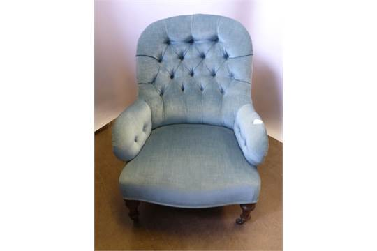 A Victorian Button Back Bedroom Chair, on turned feet, in ...