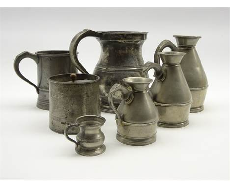 Three 19th Century haystack pewter measures pint, half-pint, and noggin, one marked for Austen & Son, Cork, 19th Century