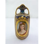 Lot 141 - BPM Continental porcelain blue and gilt vase the side decorated with an image of a lady, marks to