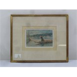 Lot 77 - Polack framed and glazed watercolour of a girl in a boat, signed and dated 1893 bottom right, 9.5