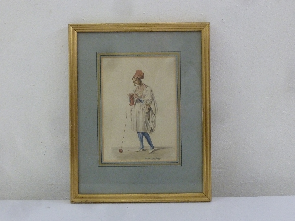 Lot 78 - A framed and glazed watercolour titled A Woman Near Athens 1828, indistinctly signed bottom right,