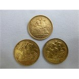 Lot 390 - Three gold half sovereigns 1906, 1911 and 1912