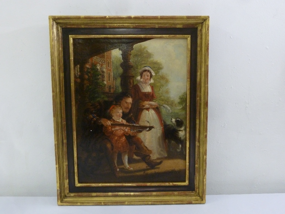 Lot 80 - A framed oil on canvas of a family scene with a child and a dog, indistinctly signed bottom right,