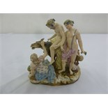 Lot 170 - Meissen mythological figural group of a man riding a donkey with two ladies and a putti, marks to