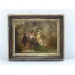 Lot 81 - A framed 18th century oil on canvas of a family in a courtyard setting, monogrammed bottom left,