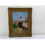 Lot 79 - Vincente Palmaroli framed oil on board of a lady playing a mandolin, signed bottom right, 39 x 28.