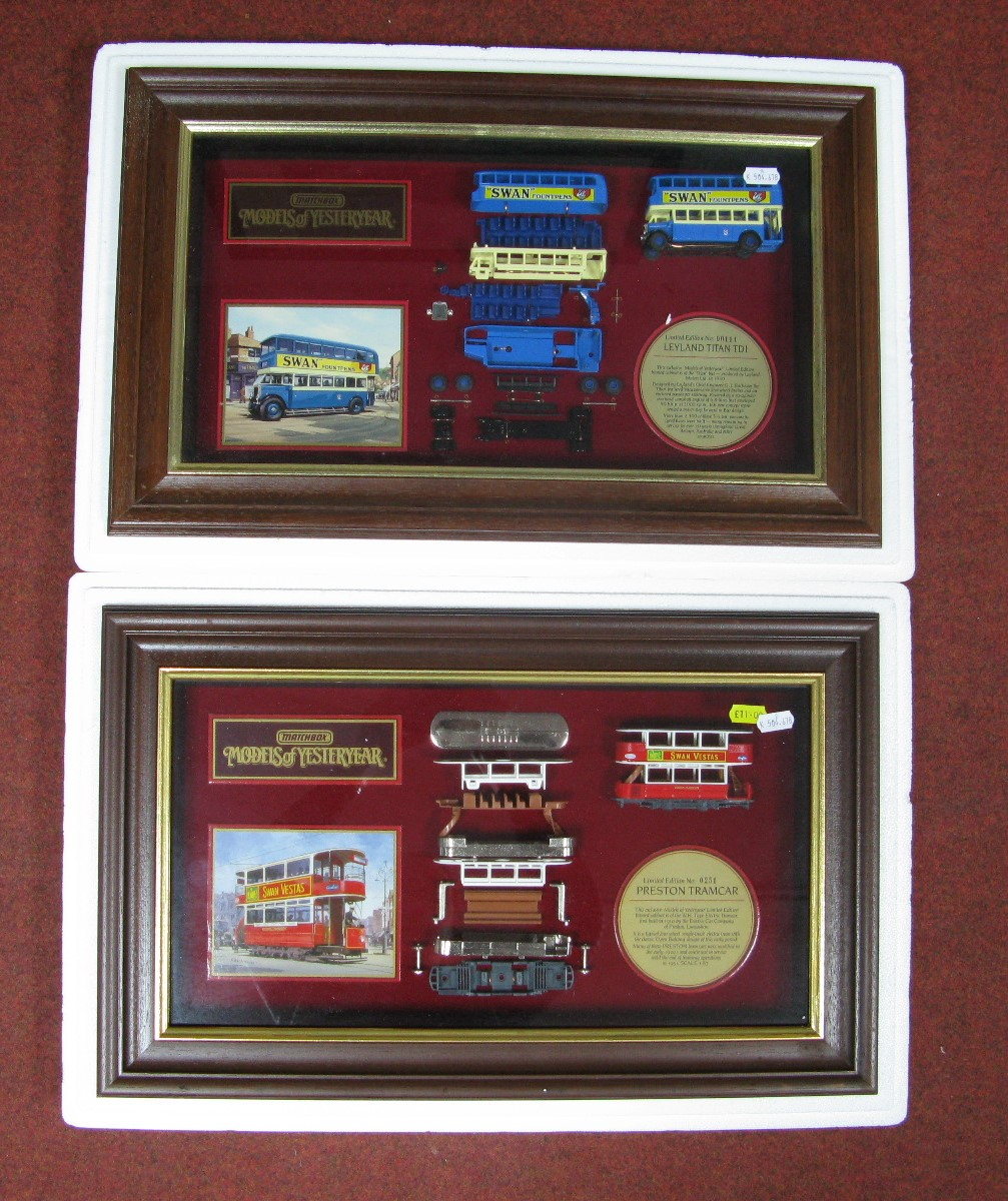 Lot 3 - Two Matchbox Models of Yesteryear Framed Diecast Display Cabinets, Preston tramcar No. 0251, 'Swan