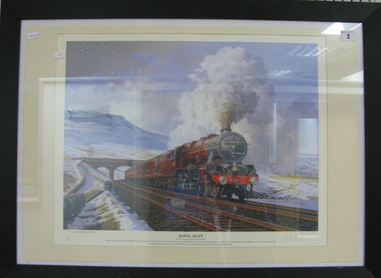 Lot 2 - A Wooden Framed Outline Steam Locomotive Print 'The Royal Scot', from a painting by Malcolm Root (