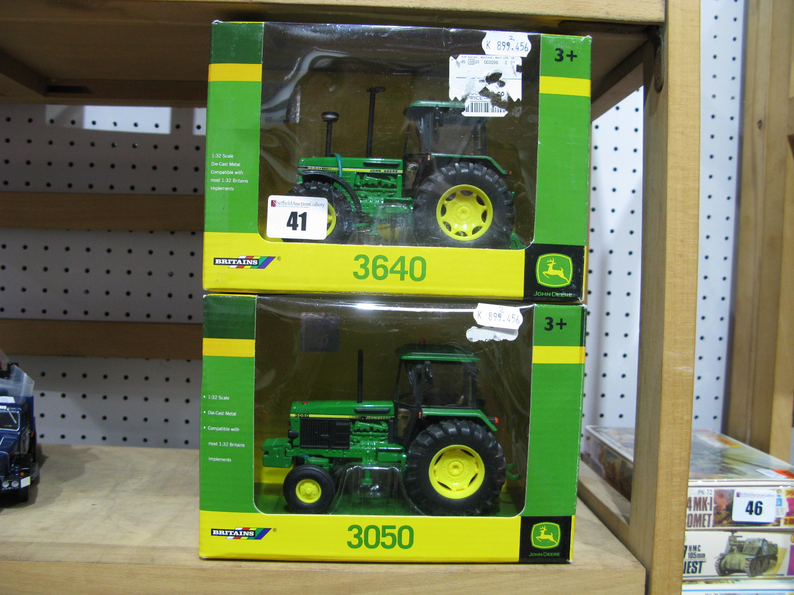 Lot 41 - Two Boxed Britains John Deere 1/32nd Scale Diecast Model Tractors, # 43054 3640, # 42902 3050.