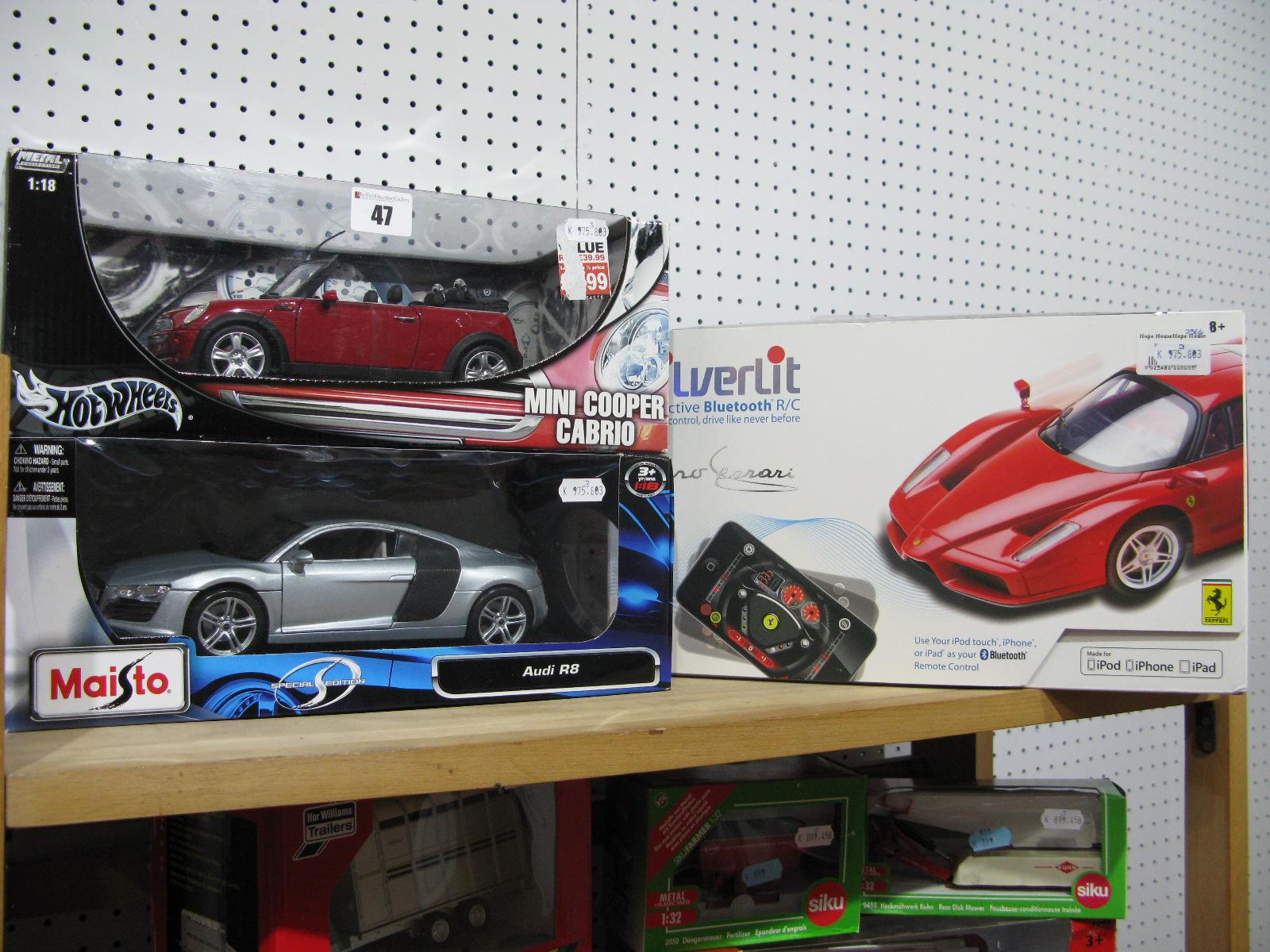 Lot 47 - Two Boxed 1:18th Scale Diecast Model Cars - Hotwheels #B6048 Mini Cooper Cabrio, Maisto #46629