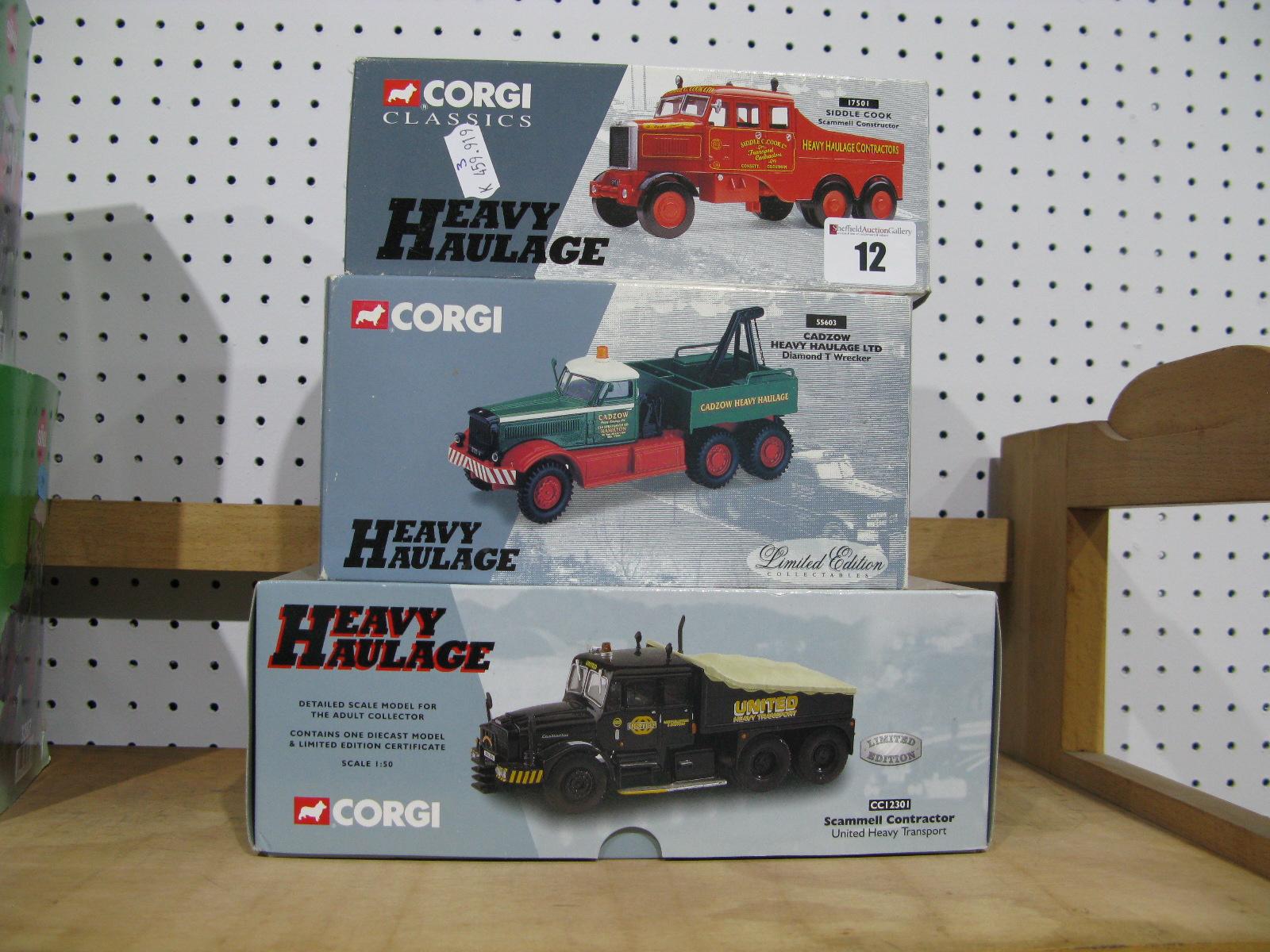 Lot 12 - Three 1/50th Scale Diecast Model Trucks By Corgi, #cc12301 Scammel contractor, united heavy