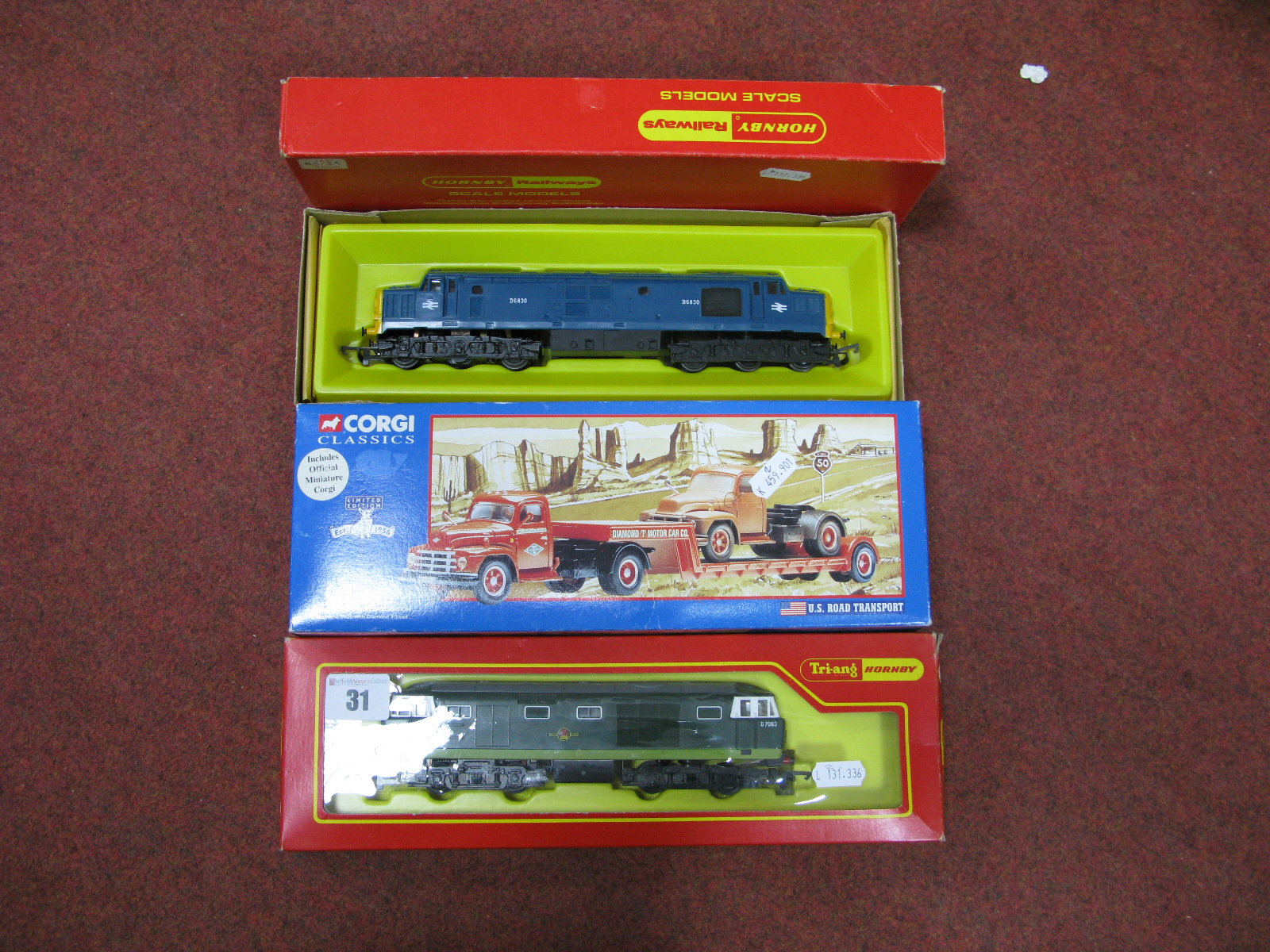 """Lot 31 - Two """"OO"""" Scale Model Railway Diesel Locomotives, by Hornby. One Class 35 Hymek in green and one"""