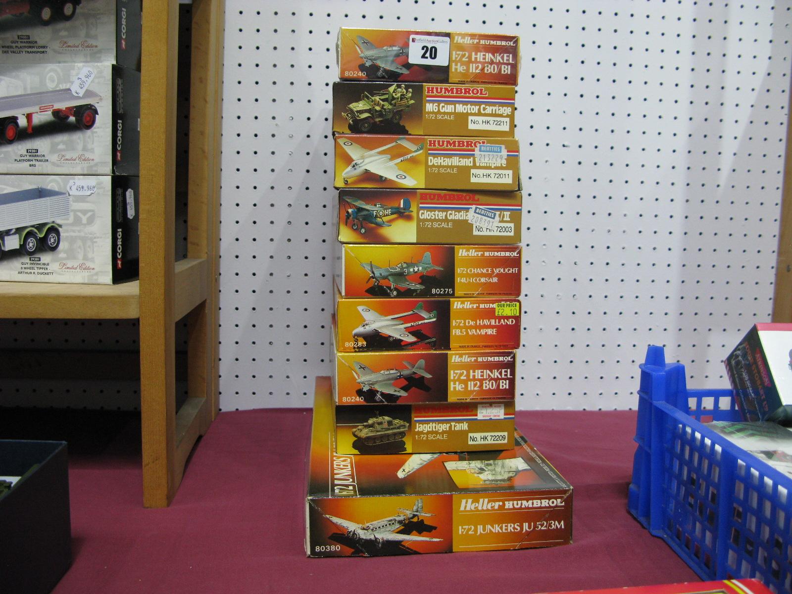 Lot 20 - Nine Boxed Humbrol, Heller Humbrol 1/72nd Scale Plastic Model Military Aircraft, vehicles kits