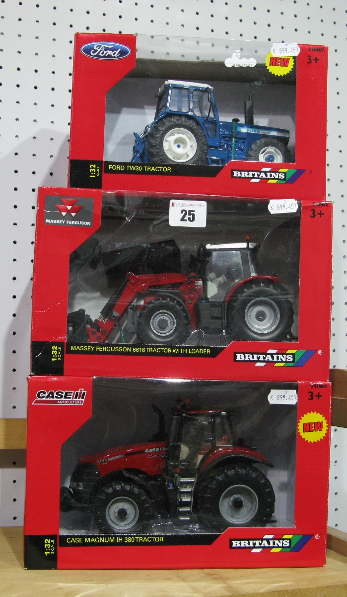 Lot 25 - Three Boxed Britains 1/32nd Scale Diecast Model Tractors, # 43082AI Massey Ferguson 6616 Tractor
