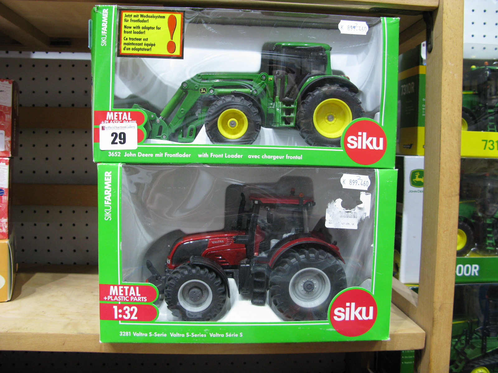 Lot 29 - Two Boxed Siku 1/32nd Scale Diecast and Plastic Model Tractors, #3652 John Deere with Front
