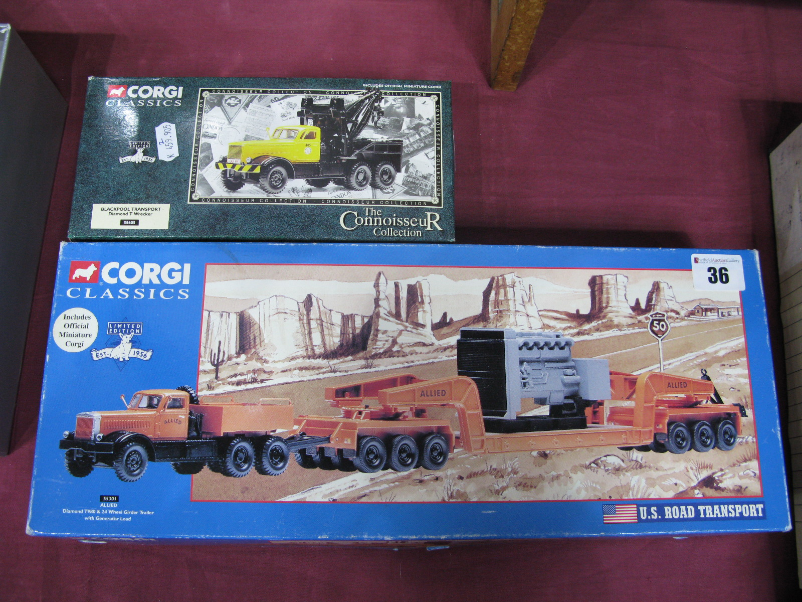 Lot 36 - Two 1/50th Scale diecast Model Diamond T Trucks By Corgi, # 55301 T980 with low loader and generator
