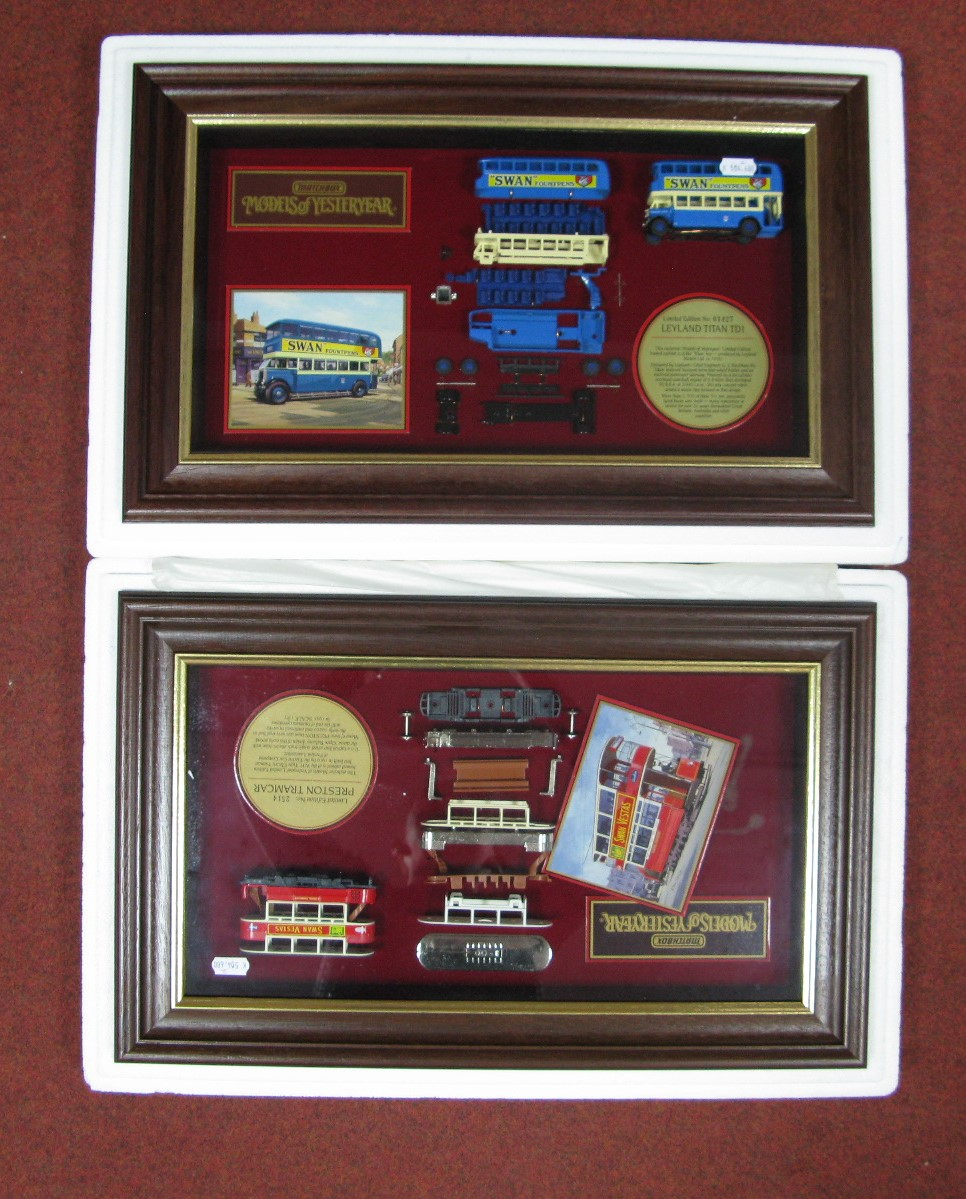 Lot 5 - Two Matchbox Models of Yesteryear Framed Diecast Display Cabinets, Preston tramcar, no 2514, 'Swan