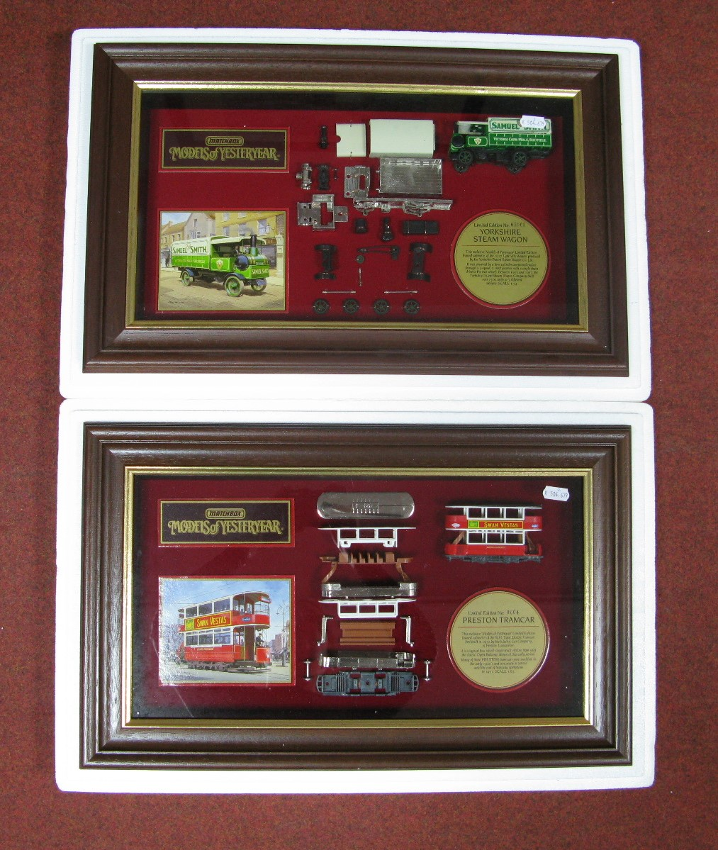 """Lot 4 - Two matchbox Models of Yesteryear, framed diecast display cabinets, Preston tramcar, no0604 """"Swan"""