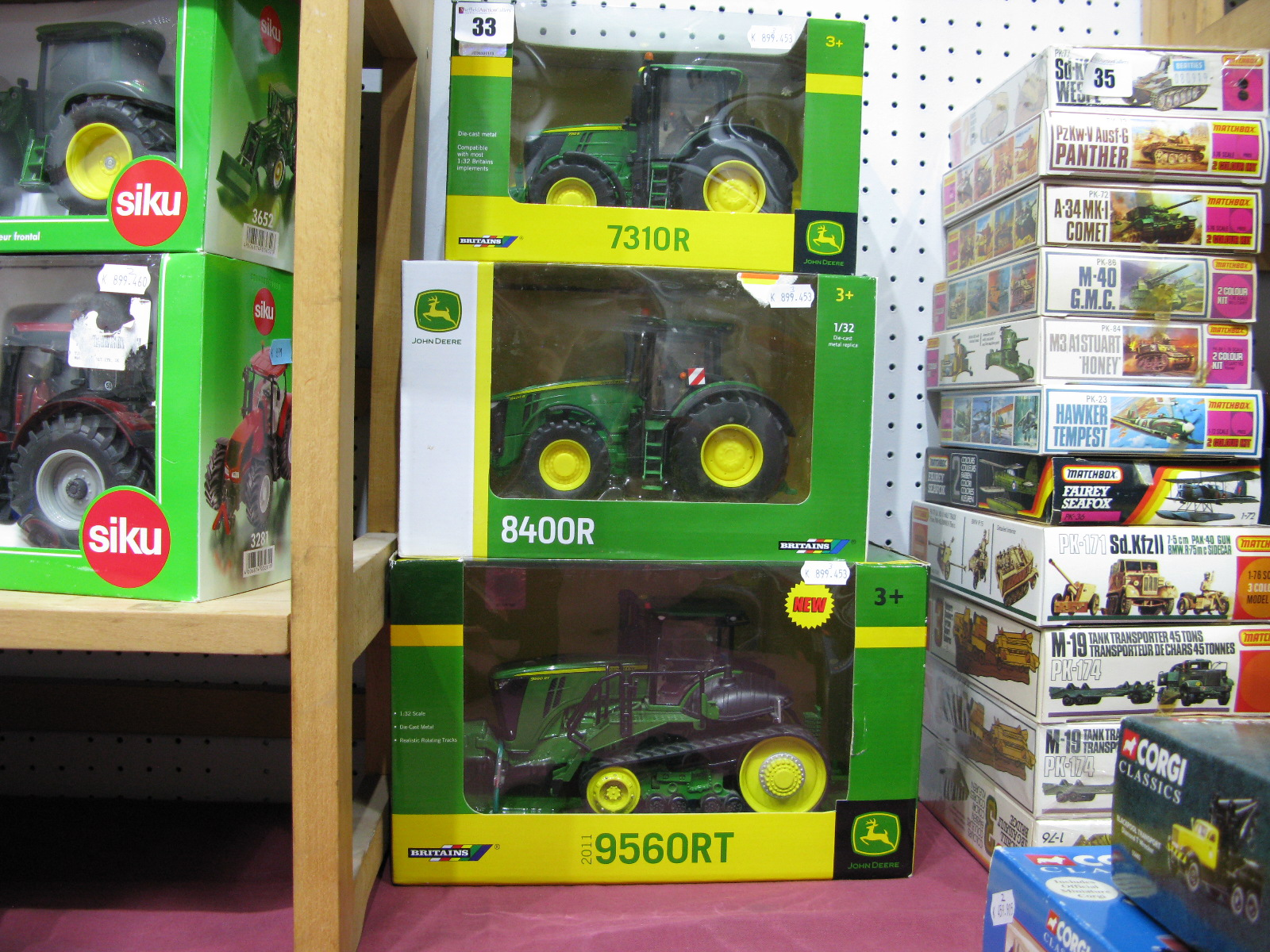 Lot 33 - Three Boxed Brtains John Deere 1/32nd Scale Diecast Model Tractors, # 42897 2011 9560RT, # 43174