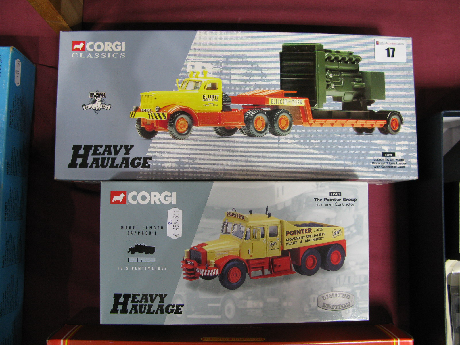Lot 17 - Two 1/50th Scale Diecast Model Trucks By Corgi, #55501 Diamond T low loader, Elliots of York and #