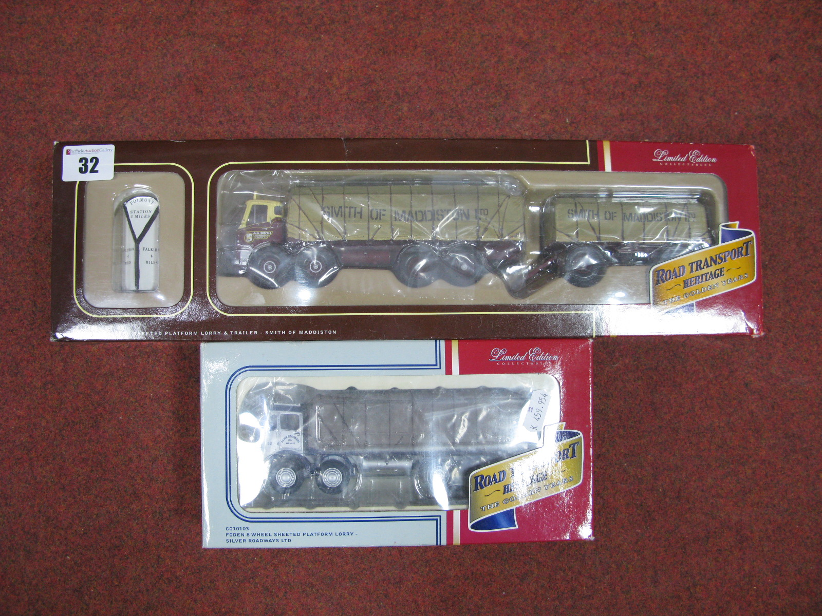"Lot 32 - Two 1/50th Scale Model Diecast Lorries, by Corgi ""Road Transport Heritage"". Both boxed and"