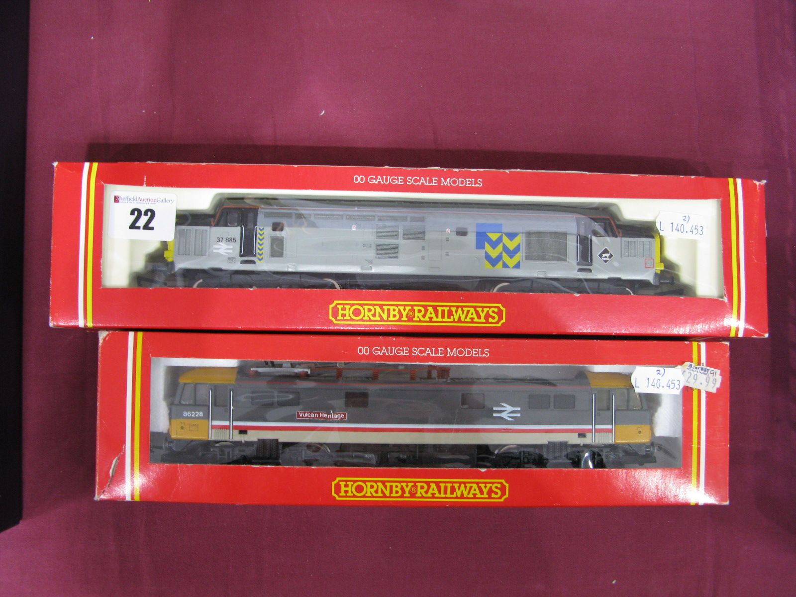 """Lot 22 - Two Boxed Hornby """"OO"""" Gauge Outline Electric and Diesel Electric Locomotives, # R243 Class 37 Diesel"""
