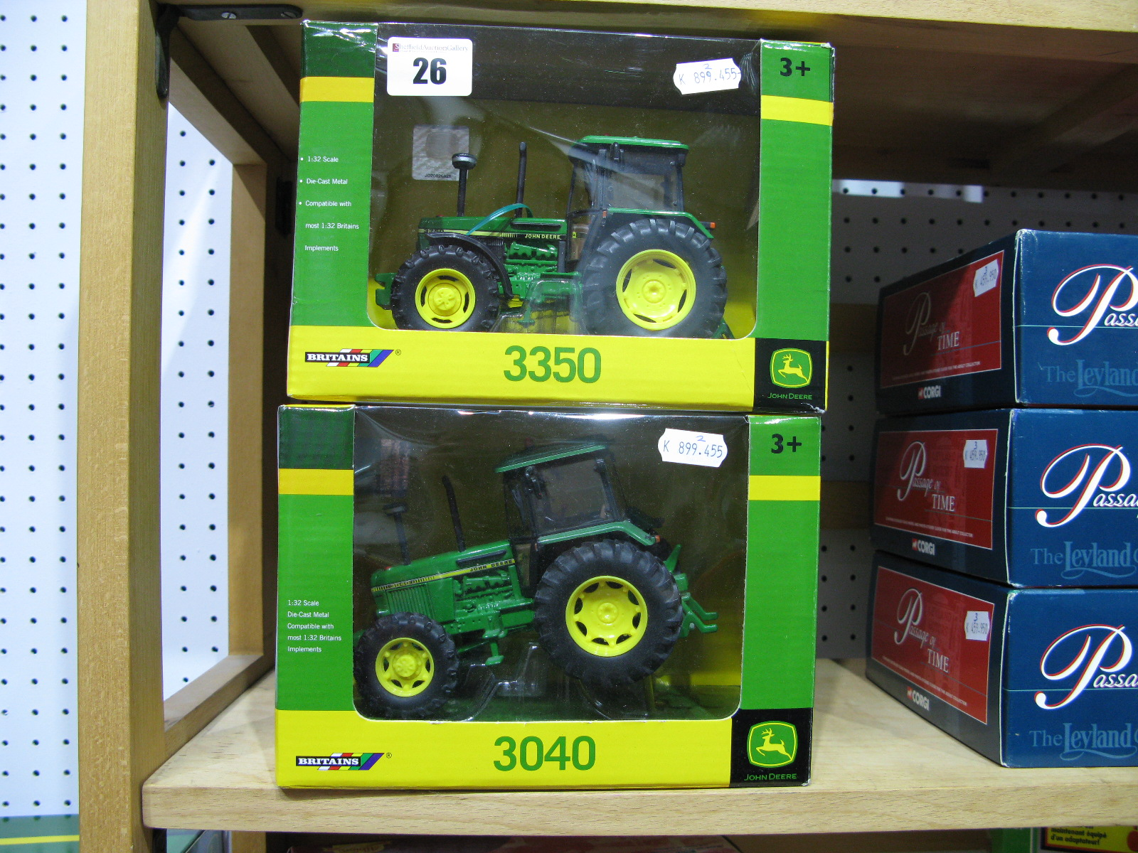 Lot 26 - Two Boxed Britains John Deere 1/32nd Scale Diecast Model Tractors, # 42903 3350, # 43020 3040.
