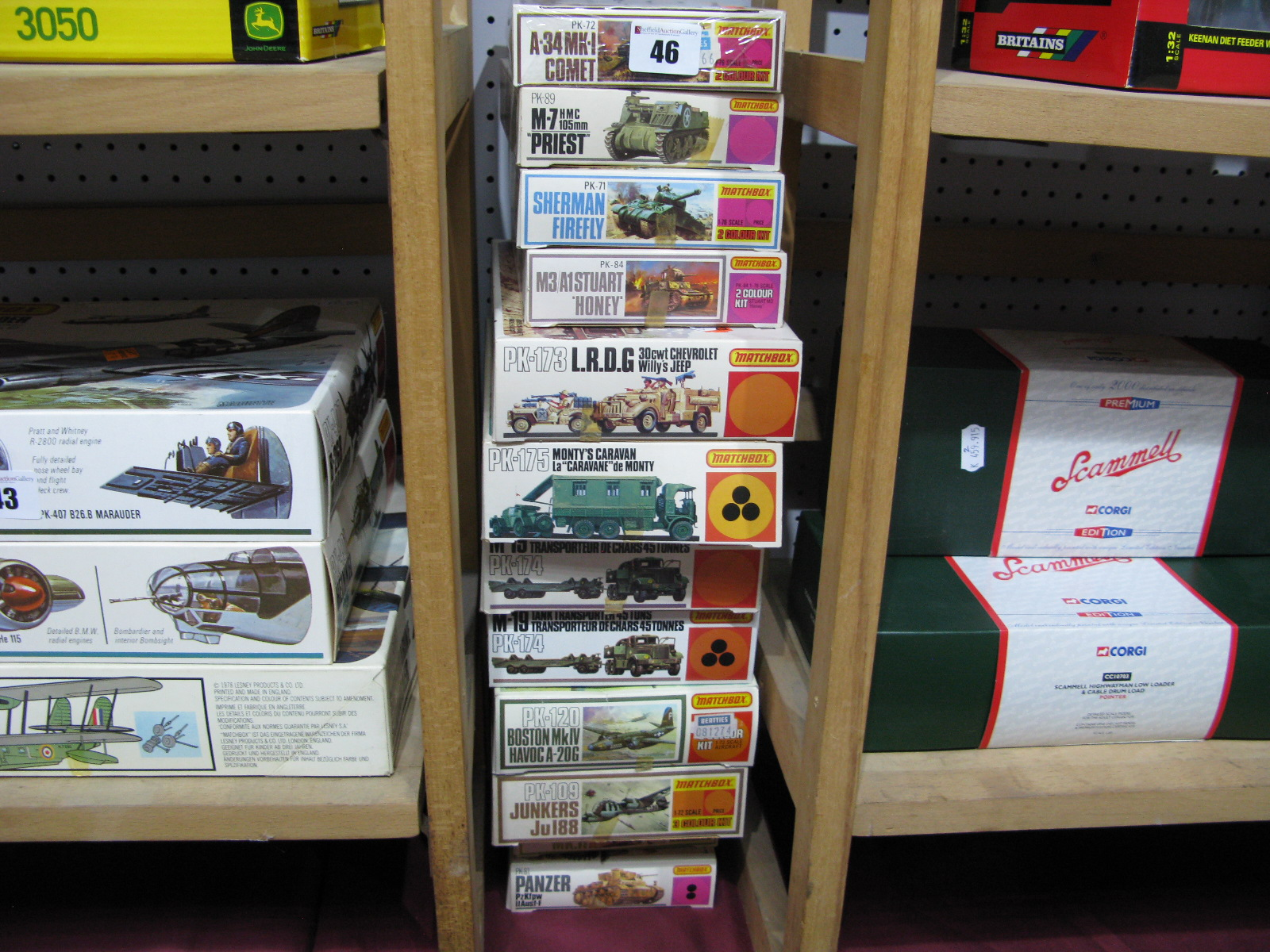 Lot 46 - Twelve Boxed Matchbox Plastic Model Military Vehicle and Aircraft Kits, 1/76th and 1/72nd scale,