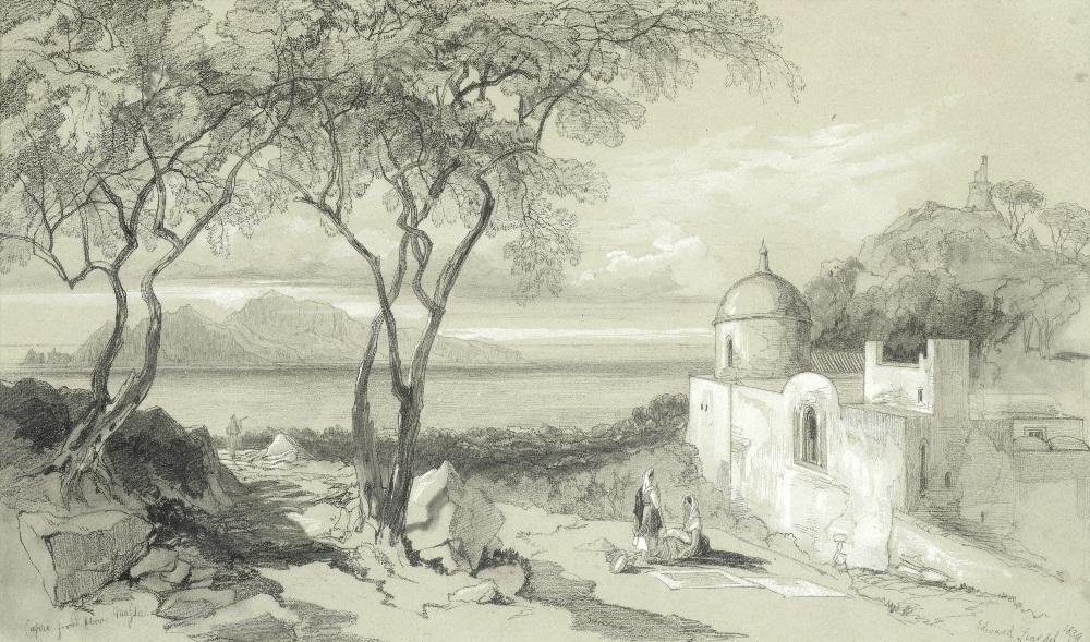 Lot 15 - Edward Lear (British, 1812-1888) 'Capri, from above Mafsa'