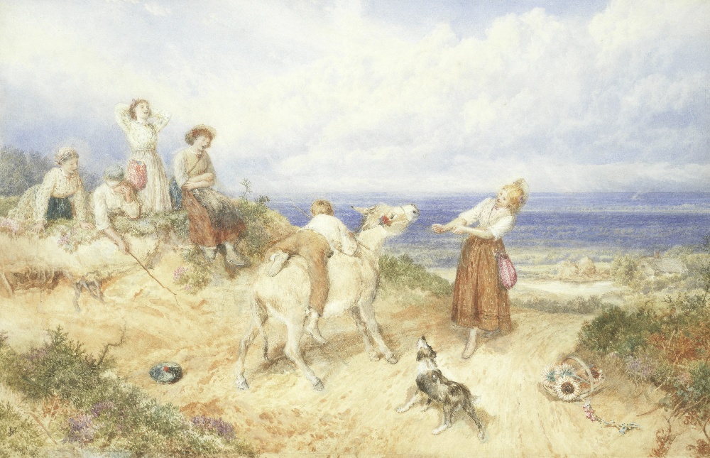Lot 14 - Myles Birket Foster, RWS (British, 1825-1899) 'The donkey that wouldn't go'