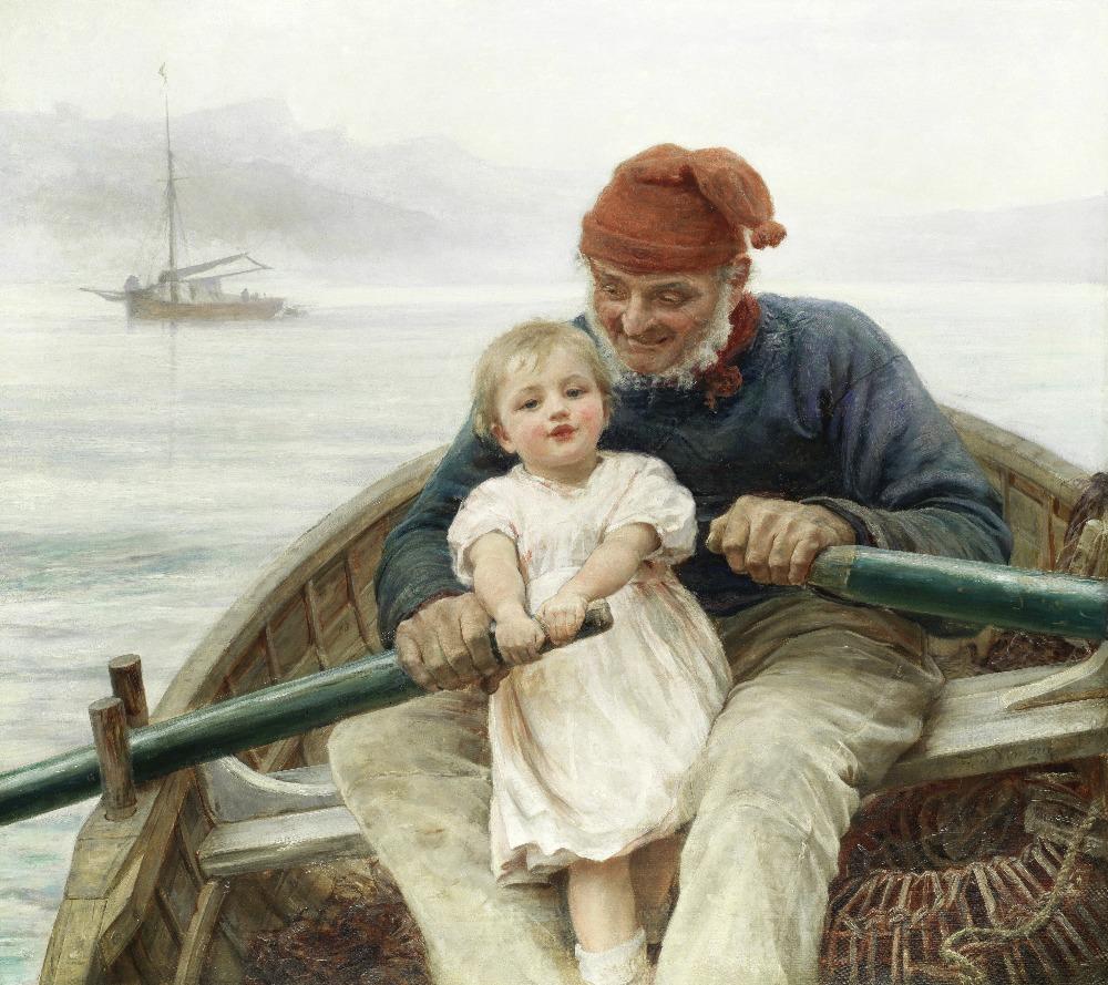 Lot 20 - Frederick Morgan, ROI (British, 1847-1927) Rowing with Grandpa