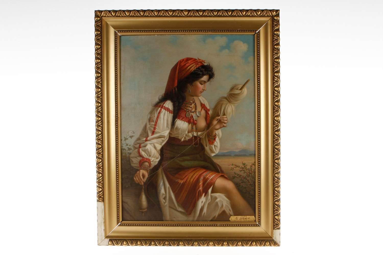 Ölgemälde Zigeunerin, Öl auf Leinwand, signiert: G. Schmidt 1902, im ...