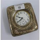 Silver watch case / frame, Birmingham 1945 containing a Goliath pocket watch (2)