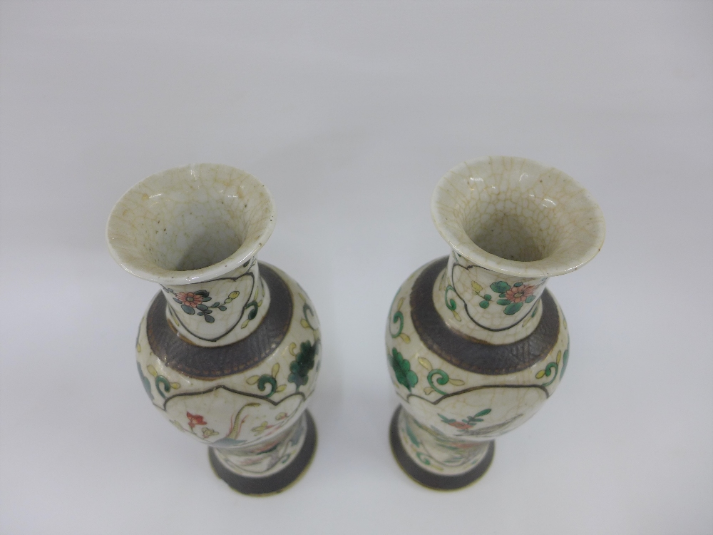 Pair of Chinese high shouldered baluster vases with bird and branch pattern to a craquelure ground - Image 4 of 6
