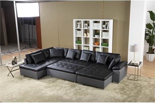 The Scafati Leather And Fabric Corner Sofabed Is A Practical Living
