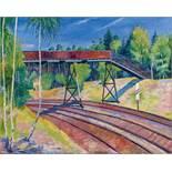 Felixmüller, Conrad1897 Dresden - 1977 BerlinEisenbahnübergang in der Heide (Klotzsche). 1929. Oil
