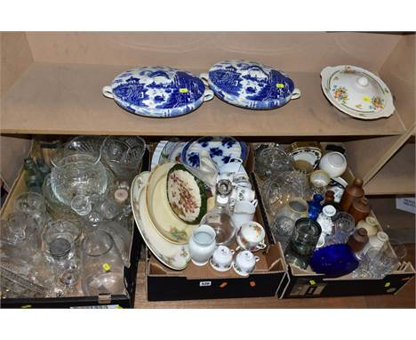 THREE BOXES OF CERAMICS AND GLASS, ETC, to include Poole Pottery flan dish, two blue and white tureens with lids, Gainsboroug