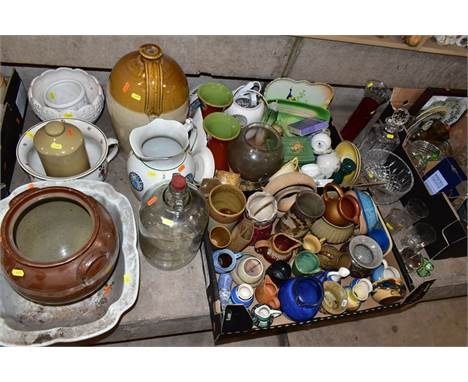 THREE BOXES AND LOOSE GLASSWARE AND CERAMICS, including a stoneware flagon, height 37cm, a stoneware hot water jug, chamber p