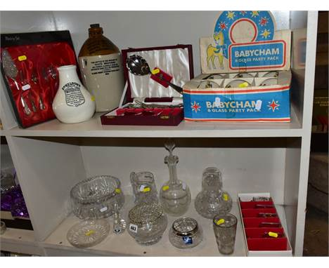 GLASSWARE, STONEWARE, ETC, to include Tutbury Crystal swan, Stuart Crystal pot pourri dish and wire cover, boxed Babycham gla