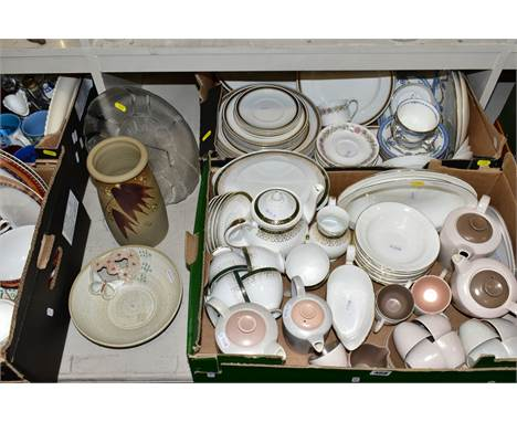 FOUR BOXES AND LOOSE PART DINNER AND TEA SETS, ETC, including a Crown Staffordshire Tunis part dinner service, a Studio Potte