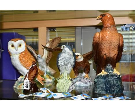 SIX VARIOUS CERAMIC BIRD FIGURES AND LIQUEUR FLASKS AND SEVEN R.S.P.B ENAMEL BIRD PIN BADGES, the ceramic itens comprising a