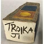 Troika pottery Coffin vase marked to base TROIKA JI