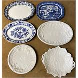 Six assorted meat plates, 3 x blue and white, 2 basket weave and 1 leaf shape.