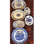 Six various blue/white plates and drainers including Copeland Spode's Tower, good condition,