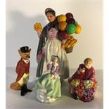 Four Royal Doulton figurines including Top O The Hill, Biddy Pennyfarthing HN 1843.